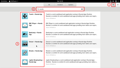 Launch GNOME Software and search for 'Gaana'.