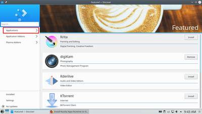 Launch KDE Discover and open Applications section.