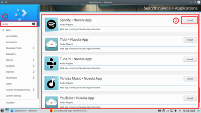 Search for 'Pandora' and click the 'Install' button.