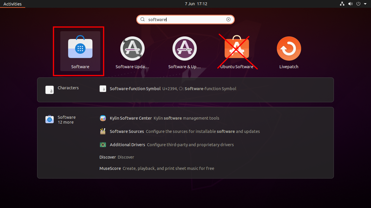 Launch GNOME Software called just 'Software', not 'Ubuntu Software'.